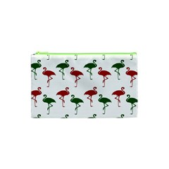 Flamingos Christmas Pattern Red Green Cosmetic Bag (xs) by CrypticFragmentsColors