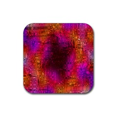 Purple Orange Pink Colorful Rubber Square Coaster (4 Pack)  by yoursparklingshop