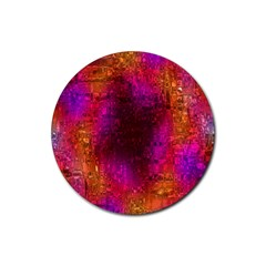 Purple Orange Pink Colorful Rubber Coaster (Round)  by yoursparklingshop