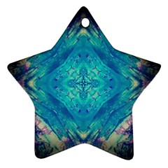 Boho Hippie Tie Dye Retro Seventies Blue Violet Ornament (star)  by CrypticFragmentsDesign