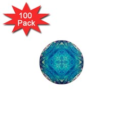Boho Hippie Tie Dye Retro Seventies Blue Violet 1  Mini Magnets (100 Pack)  by CrypticFragmentsDesign