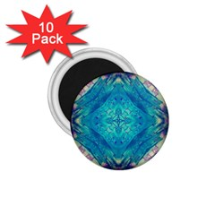 Boho Hippie Tie Dye Retro Seventies Blue Violet 1 75  Magnets (10 Pack)  by CrypticFragmentsDesign