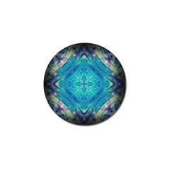 Boho Hippie Tie Dye Retro Seventies Blue Violet Golf Ball Marker (4 Pack) by CrypticFragmentsDesign