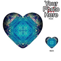 Boho Hippie Tie Dye Retro Seventies Blue Violet Multi Purpose Cards (heart)  by CrypticFragmentsDesign