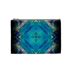 Boho Hippie Tie Dye Retro Seventies Blue Violet Cosmetic Bag (medium)
