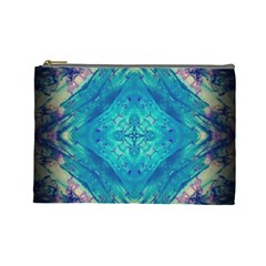 Boho Hippie Tie Dye Retro Seventies Blue Violet Cosmetic Bag (large)