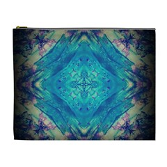 Boho Hippie Tie Dye Retro Seventies Blue Violet Cosmetic Bag (xl)