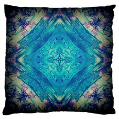 Boho Hippie Tie Dye Retro Seventies Blue Violet Large Cushion Case (one Side) by CrypticFragmentsDesign