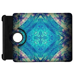 Boho Hippie Tie Dye Retro Seventies Blue Violet Kindle Fire Hd Flip 360 Case by CrypticFragmentsDesign