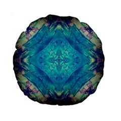 Boho Hippie Tie Dye Retro Seventies Blue Violet Standard 15  Premium Round Cushions by CrypticFragmentsDesign