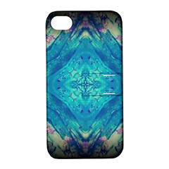 Boho Hippie Tie Dye Retro Seventies Blue Violet Apple Iphone 4/4s Hardshell Case With Stand by CrypticFragmentsDesign