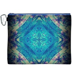 Boho Hippie Tie Dye Retro Seventies Blue Violet Canvas Cosmetic Bag (XXXL)  by CrypticFragmentsDesign