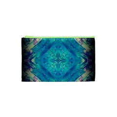Boho Hippie Tie Dye Retro Seventies Blue Violet Cosmetic Bag (xs) by CrypticFragmentsDesign