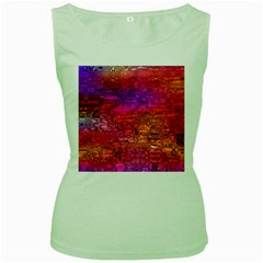 Purple Orange Pink Colorful Art Women s Green Tank Top by yoursparklingshop