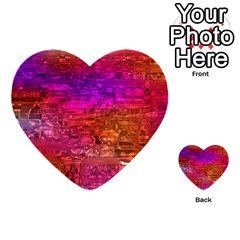 Purple Orange Pink Colorful Art Multi Purpose Cards (heart)  by yoursparklingshop