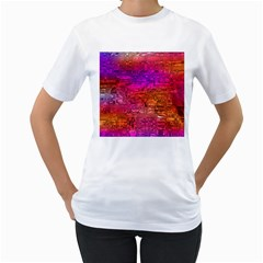 Purple Orange Pink Colorful Art Women s T Shirt (white)  by yoursparklingshop
