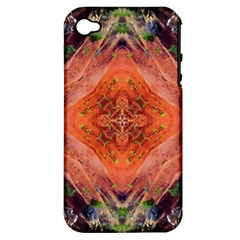 Boho Bohemian Hippie Floral Abstract Faded  Apple Iphone 4/4s Hardshell Case (pc+silicone) by CrypticFragmentsDesign