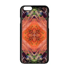 Boho Bohemian Hippie Floral Abstract Faded  Apple Iphone 6/6s Black Enamel Case by CrypticFragmentsDesign