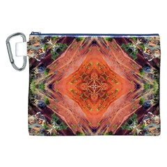 Boho Bohemian Hippie Floral Abstract Faded  Canvas Cosmetic Bag (xxl)  by CrypticFragmentsDesign