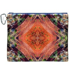 Boho Bohemian Hippie Floral Abstract Faded  Canvas Cosmetic Bag (xxxl)  by CrypticFragmentsDesign