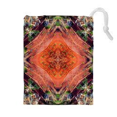 Boho Bohemian Hippie Floral Abstract Faded  Drawstring Pouches (extra Large) by CrypticFragmentsDesign