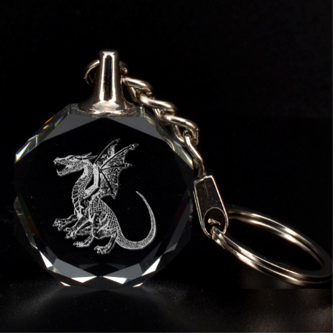 Engraved Winged Dragon Key Chain By Rd   3d Engraving Circle Key Chain   Ksnbdzbcanfb   Www Artscow Com Front