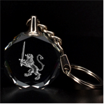 Engraved Lion with Sword Key Chain - 3D Engraving Circle Key Chain