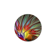 Fractal Bird Of Paradise Golf Ball Marker by WolfepawFractals