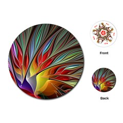 Fractal Bird Of Paradise Playing Cards (round) by WolfepawFractals