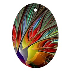 Fractal Bird Of Paradise Oval Ornament (two Sides) by WolfepawFractals