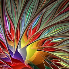 Fractal Bird Of Paradise Magic Photo Cube by WolfepawFractals