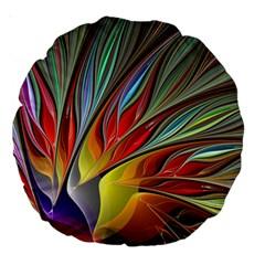 Fractal Bird Of Paradise Large 18  Premium Round Cushion  by WolfepawFractals
