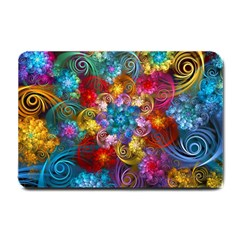 Spirals And Curlicues Small Doormat  by WolfepawFractals