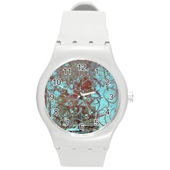 Urban Graffiti Grunge Look Round Plastic Sport Watch (m) by CrypticFragmentsDesign