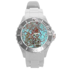Urban Graffiti Grunge Look Round Plastic Sport Watch (l) by CrypticFragmentsDesign