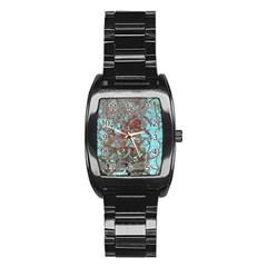 Urban Graffiti Grunge Look Stainless Steel Barrel Watch by CrypticFragmentsDesign