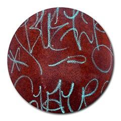 Urban Graffiti Rust Grunge Texture Background Round Mousepads by CrypticFragmentsDesign