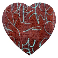 Urban Graffiti Rust Grunge Texture Background Jigsaw Puzzle (heart) by CrypticFragmentsDesign