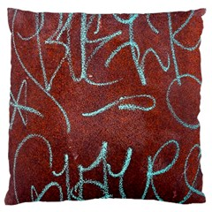 Urban Graffiti Rust Grunge Texture Background Large Cushion Case (two Sides) by CrypticFragmentsDesign