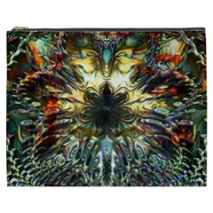 Metallic Abstract Flower Copper Patina Cosmetic Bag (xxxl)  by CrypticFragmentsDesign