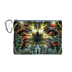 Metallic Abstract Flower Copper Patina Canvas Cosmetic Bag (m) by CrypticFragmentsDesign