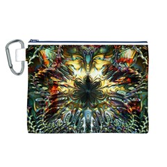 Metallic Abstract Flower Copper Patina Canvas Cosmetic Bag (l) by CrypticFragmentsDesign