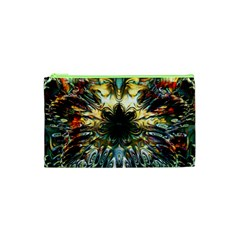 Metallic Abstract Flower Copper Patina Cosmetic Bag (xs) by CrypticFragmentsDesign