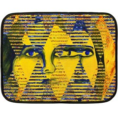 Conundrum Ii, Abstract Golden & Sapphire Goddess Double Sided Fleece Blanket (mini)  by DianeClancy