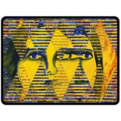 Conundrum Ii, Abstract Golden & Sapphire Goddess Double Sided Fleece Blanket (large)  by DianeClancy
