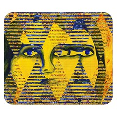 Conundrum Ii, Abstract Golden & Sapphire Goddess Double Sided Flano Blanket (small)  by DianeClancy