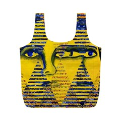 Conundrum Ii, Abstract Golden & Sapphire Goddess Full Print Recycle Bags (m)  by DianeClancy