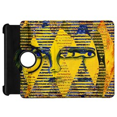 Conundrum Ii, Abstract Golden & Sapphire Goddess Kindle Fire Hd Flip 360 Case by DianeClancy