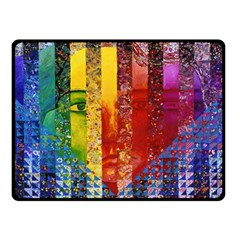 Conundrum I, Abstract Rainbow Woman Goddess  Double Sided Fleece Blanket (small)  by DianeClancy