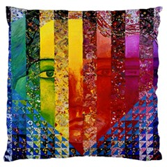 Conundrum I, Abstract Rainbow Woman Goddess  Large Flano Cushion Case (one Side) by DianeClancy
